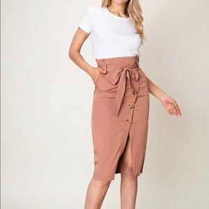 Dresses & Skirts - Dusty Rose paper bag midi skirt